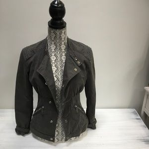 Diesel Grey Cotton Military Style Jacket Size XS